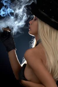 Hot girl smoking a cigar