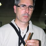 Craig from CigarCraig.com contemplates on of his test blends.