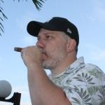 David from TikiBarOnline enjoys a cigar