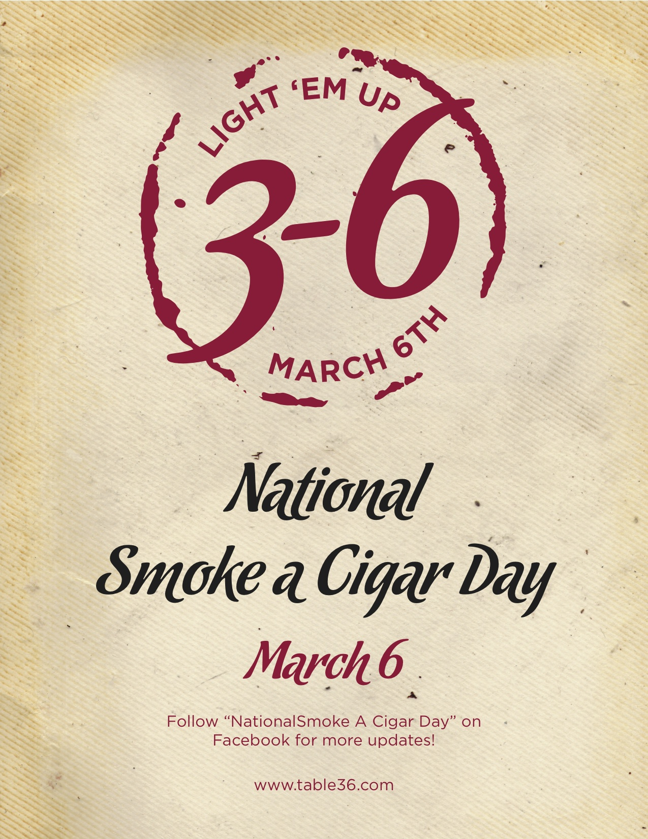 Table 36 Announces 2nd Annual National Smoke A Cigar Day (NSACD)